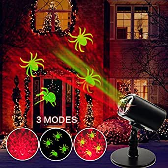 LED Kaleidoscope Light Projector Halloween Decorations Waterproof Outdoor Indoor Party Light with Fire and Spider Pattern for Theme Party Landscape and Garden Home