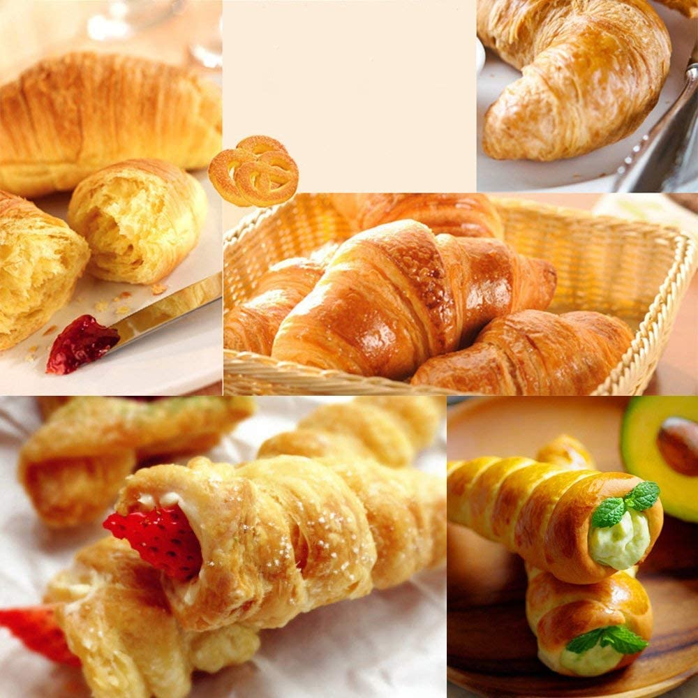Meao 10 Pcs Non-Stick Cream Horn Cones Tubes Stainless Steel Screw Croissant Pastry Baking Moulds Set Cannoli Form Roll Mold Shaper for Christmas Anniversary and Daily Use #4