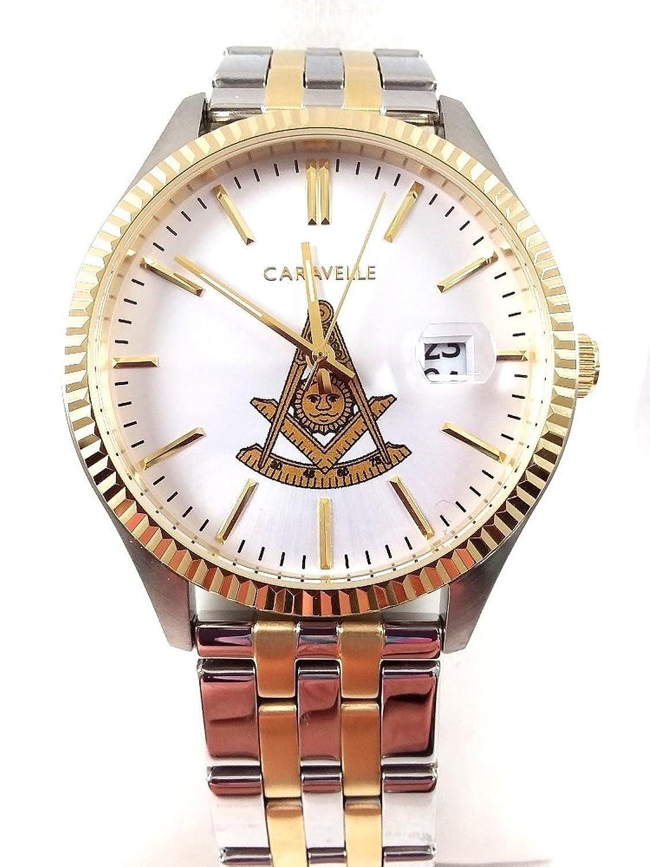 d8341 Watch Masonicツートンカラーメタルバンドホワイト面with PMロゴ B0785GL4ZL