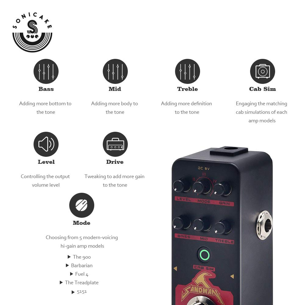 SONICAKE SANDMAN Digital Preamp Distortion Guitar Effects Pedal w//h 5 Modern-Style Hi-Gain Guitar Amps Models