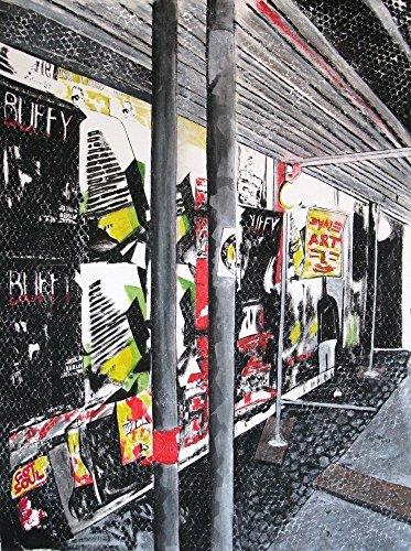 Gemälde hochwertig Bild Motiv :Baustelle Berlin Friedrichshain Michael Dyne Mieth signiert