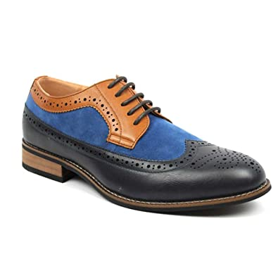 79509a50bb467c New Men s Wing Tip Brogue Suede Leather Lace Up Modern Dress Shoes Azar  (6.5 U.S