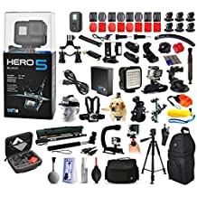 GoPro Hero 5 HERO5 Black Edition with Microphone + X-Grip + LED Light + Car Mount + Travel Case + Selfie Stick + More