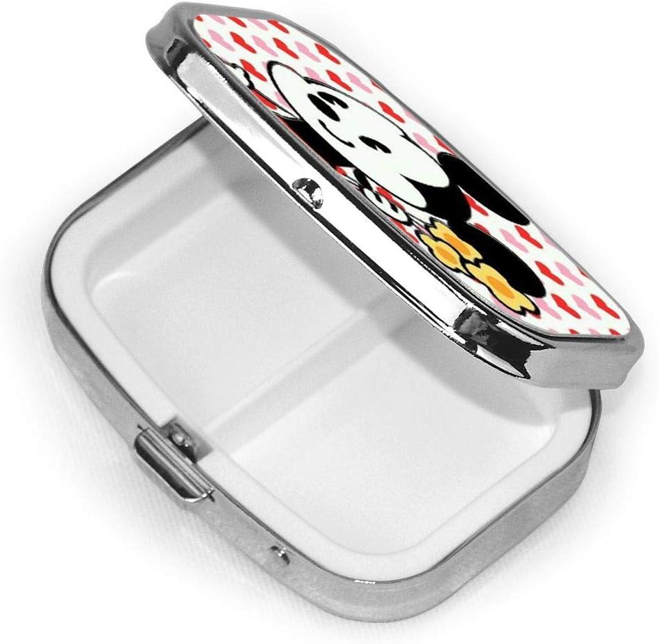 Scatola quadrata per pillole Topolino portatile con porta medicina a due scomparti