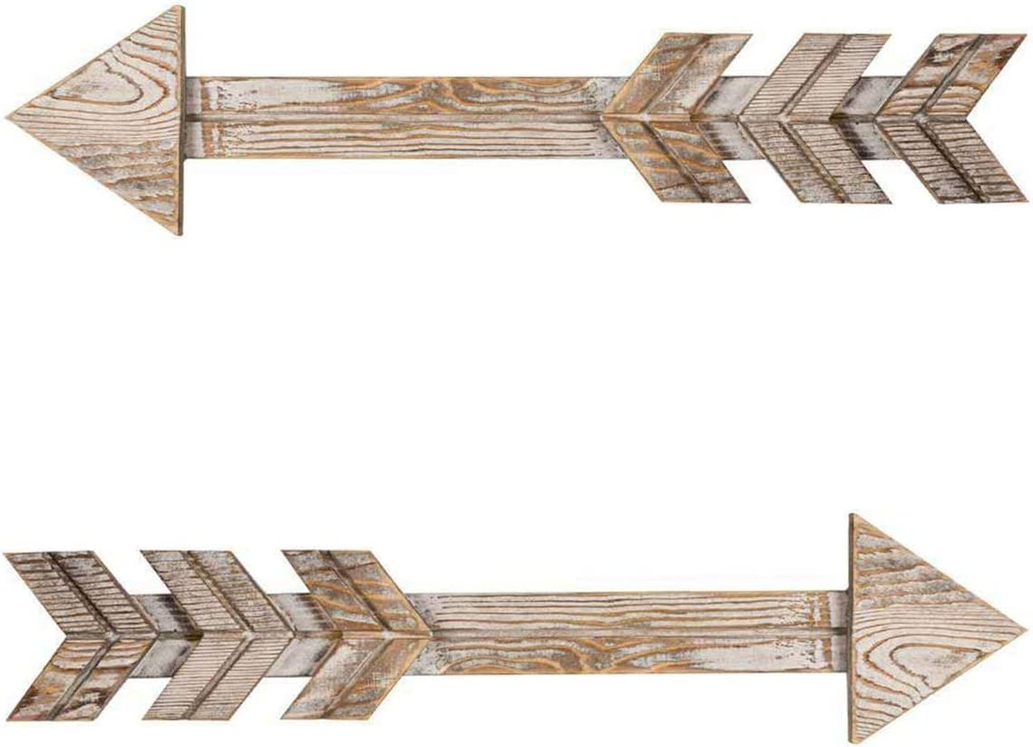 Wooden Arrow Wall Decor - Rustic Wood Arrow Sign, Set of 2, Vintage White