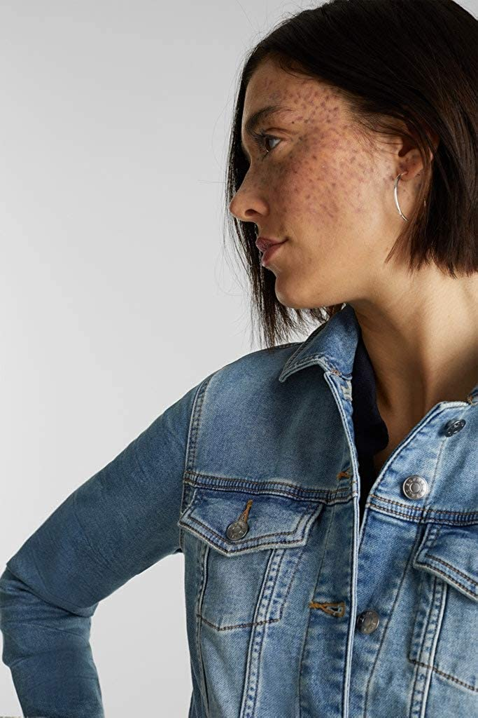 ESPRIT Stretch Denim Jacket with Organic Cotton Blue Light Washed