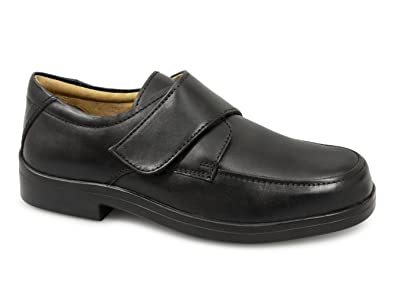 5579a35da28 Mens Black Leather Extra Wide Touch Fastening Casual Shoe - Black - size UK  Mens Size