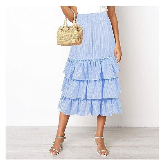 Faldas de Rayas para Mujer, Falda de Talle Alto y Falda Larga para ...
