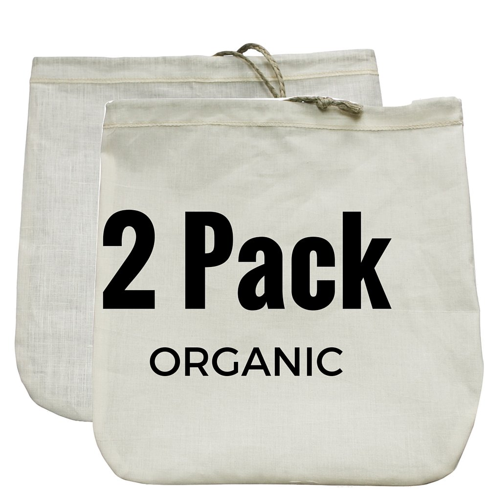 """Nut Milk Bag 2 Pack! Commercial Quality & Reusable - 12""""x12"""" - Hemp (Sprouts!) + Organic Cotton (Cheese Cloth Strainer)"""
