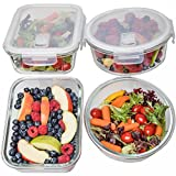 Glass Meal Prep Containers 2 Round & 2 Rectangle (35 oz) - Glass Lunch Containers, Food Storage Containers with Lids, Glass Tupperware Set, Food Prep Containers, Bento Box, Portion Control
