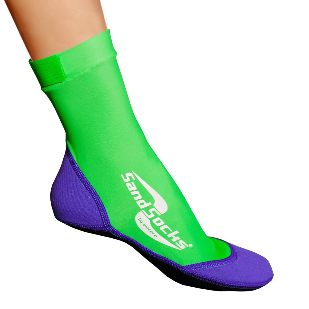 Sand Socks for Soccer, Volleyball, Snorkeling (Youth/Adult) XX-Small Lime Green/Purple