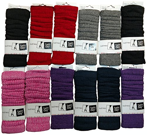 12 Pairs of Womens Leg Warmers, Warm Winter Soft Acrylic Assorted Colors by WSD (Assorted A)