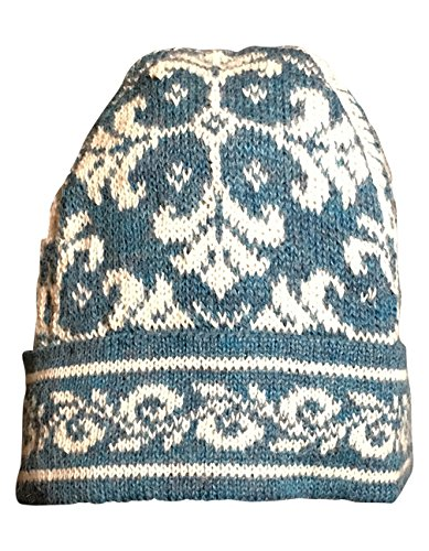 Invisible World 100% Alpaca Hand Knit Beanie Hat Medieval Blue LG