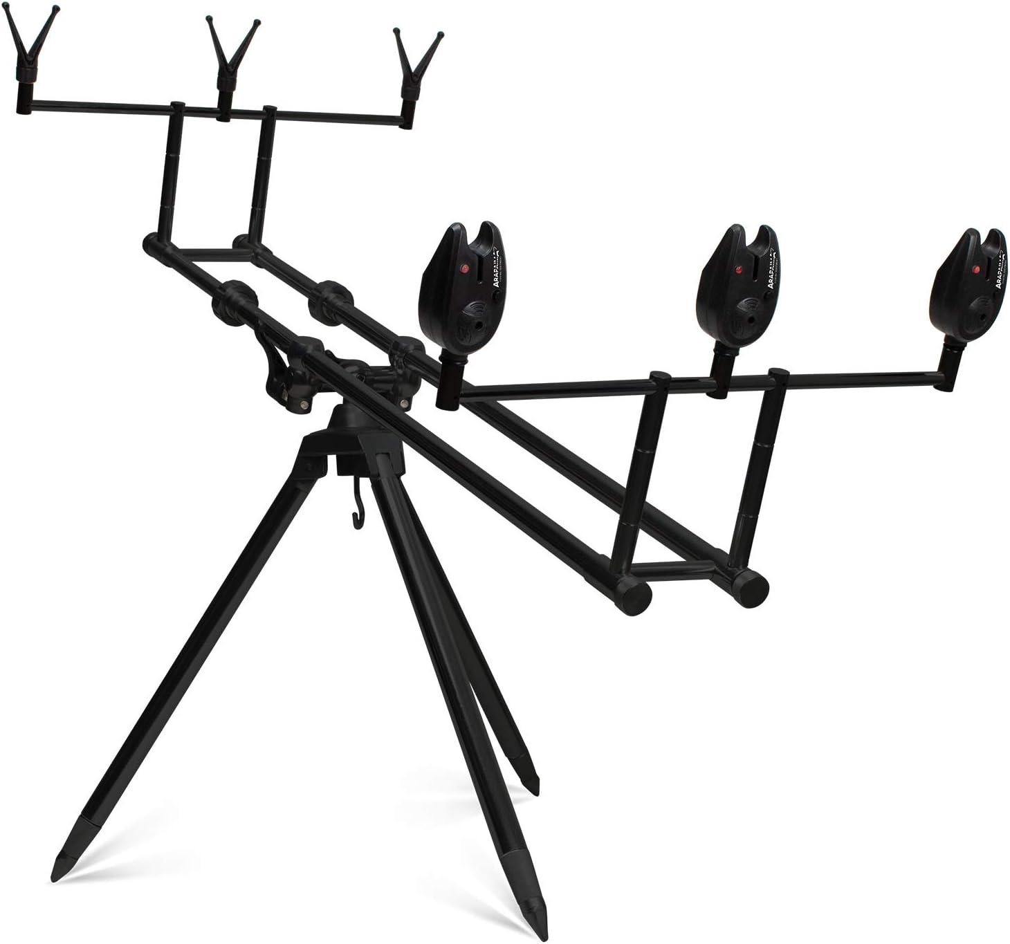 g8ds/® Set Rod Pod Rutenhalter Angeln luxuri/öser Tragetasche inklusive 3 Bissanzeiger mit Lautst/ärkeregler Karpfen Camo