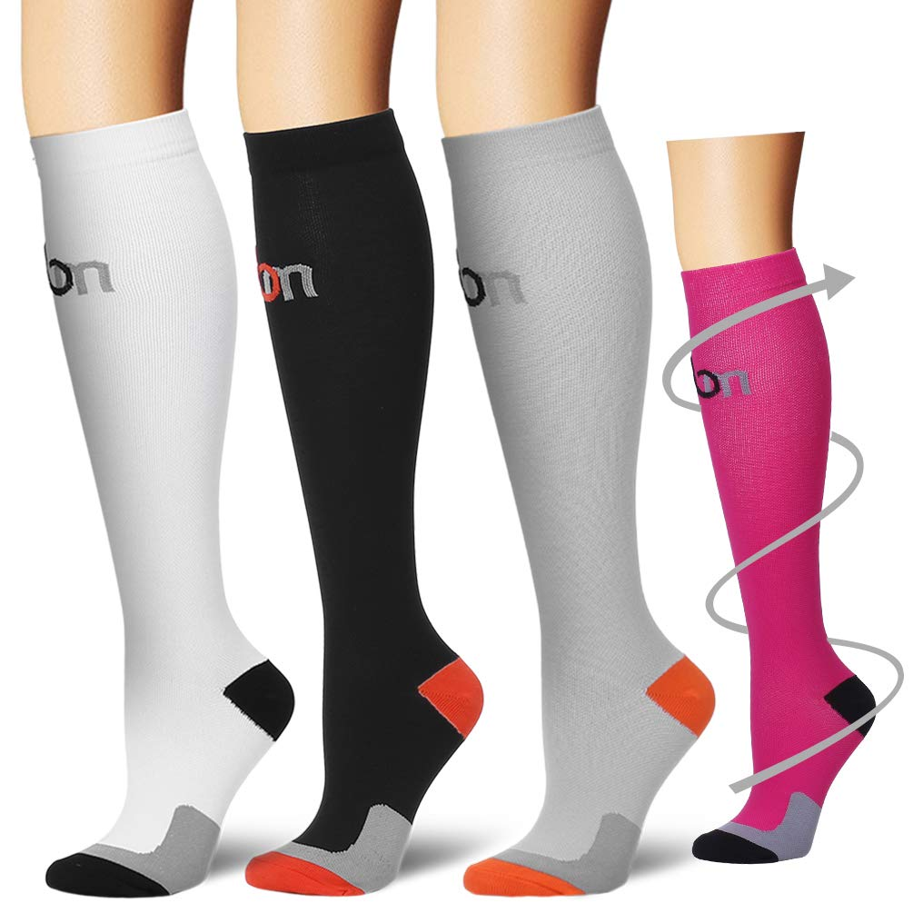 Laite Hebe Compression Socks,(3 Pairs) Compression Sock for Women & Men - Best for Running, Athletic Sports, Crossfit, Flight Travel(Multti-colors4-L/XL)