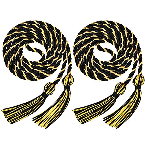 2 Pieces Graduation Honor Cords Honor Cord For Graduation Decoration (Gold and Black) - Gold Black Cord