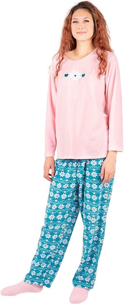 Ladies /'Stay In Bed All Day/' Fleece Pyjama Set