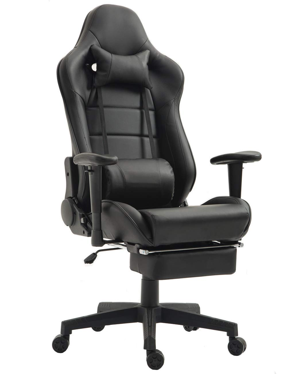 Memory Foam Gaming Chair Ergonomic High-Back Computer Chair Massage Reclining Racing Desk Office Chair with Retractable Footrest and Adjustable Lumbar Cushion (Black)