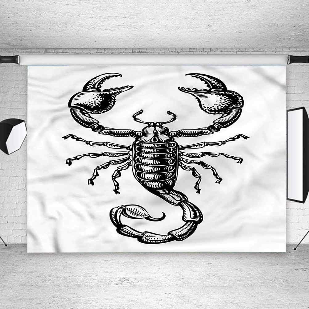 6x6FT Vinyl Photo Backdrops,Zodiac Scorpio,Sketch Tattoo Photo Background for Photo Booth Studio Props