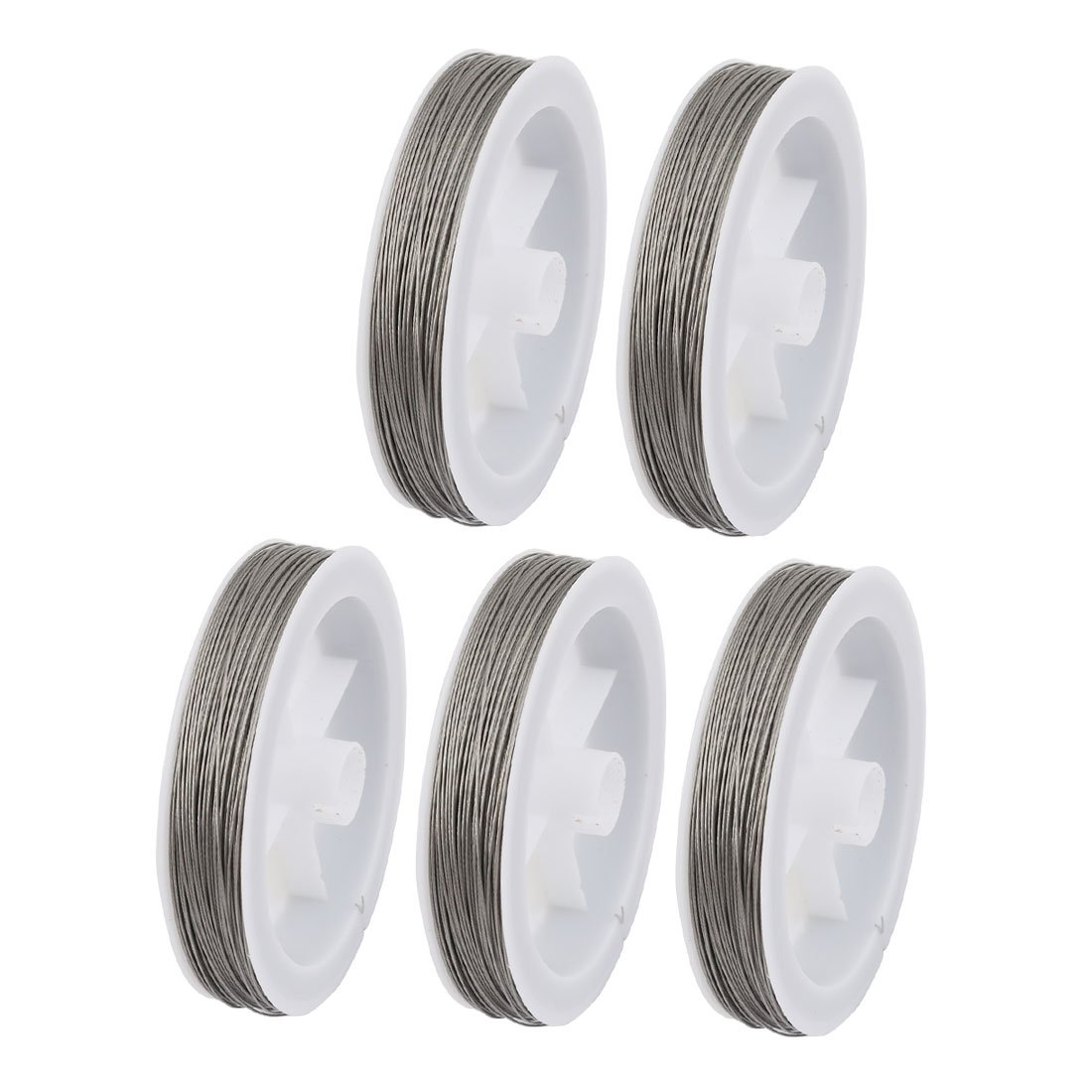 uxcell 5pcs 0.6mm Diameter 100 Meters Long Steel Wire Light Accessory for Crystal Bead