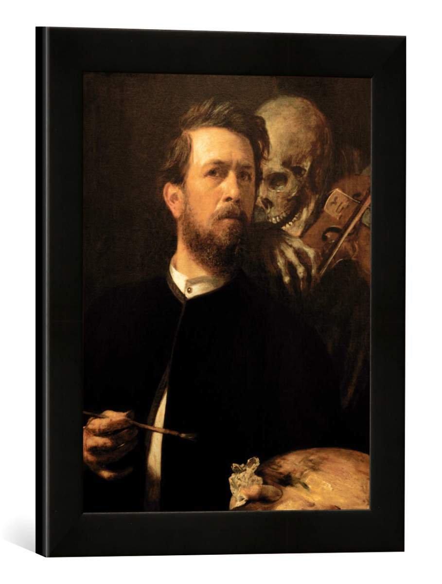 Gerahmtes Bild von Arnold Böcklin Selbstbildnis mit fiedelndem Tod, Kunstdruck im hochwertigen handgefertigten Bilder-Rahmen, 30x40 cm, Schwarz matt
