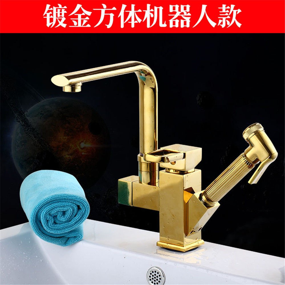 Lpophy Bathroom Sink Mixer Taps Faucet Bath Waterfall Cold and Hot Water Tap for Washroom Bathroom and Kitchen Copper Pull-Type Hot and Cold redation