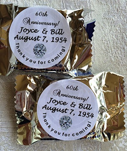 - 120 Sparkling Diamond Anniversary Circle Stickers/Favors for YOUR York Peppermint Patty/Patties Candy. These are PERSONALIZED stickers to make anniversary party favors.