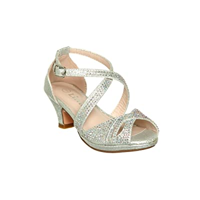 Girl's Crisscross Ankle Strap Mid Chunk Heel Dress Sandals Shoes with Small Rhinestone Embellishment