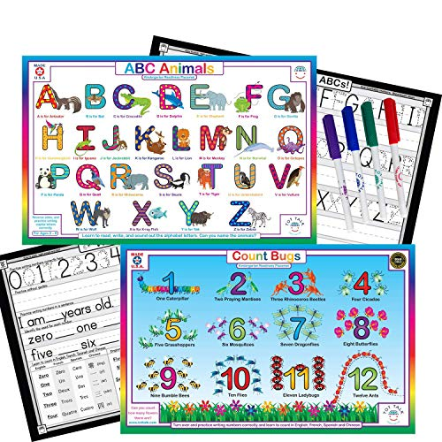 Tot Talk Alphabet, Numbers, Markers Bundle- Kids Educational Set of 2 Placemats & Dry Erase Markers- Reversible Activities- Write Uppercase ABCs- Waterproof, Washable, Wipeable, Durable, USA-Made