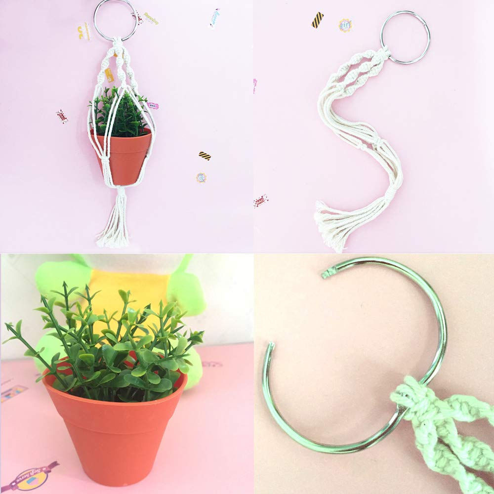 Macrame Plant Hanger Car Charm Mini Car Rear View Plant Holder With Pot And Plant Car Ornament Air Plant Holder Hanging Planter Cotton Rope 13 Inch