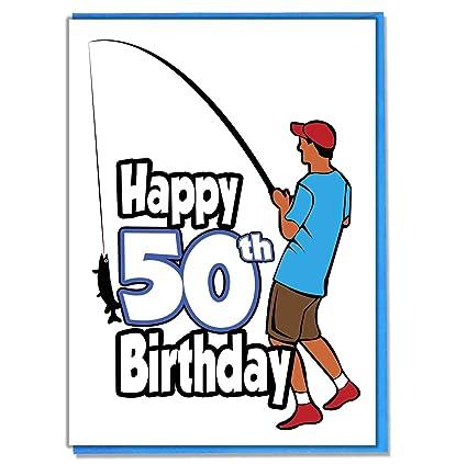 Tarjeta de 50 cumpleaños para pescador, para hombre, hijo ...