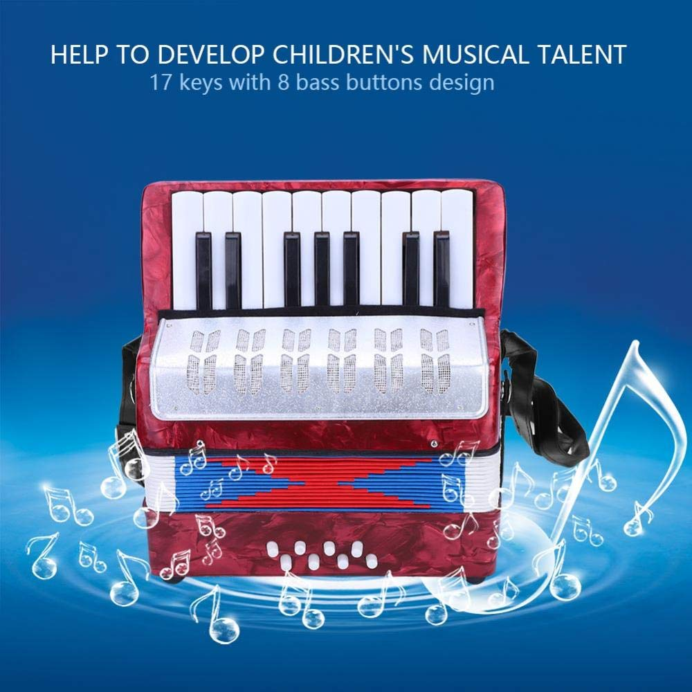 Children Accordion Music Toy 17 Key 8 Bass Accordion Educational Toys Music Instruments for Beginners Students 4 Colors (Red) by Tbest (Image #2)