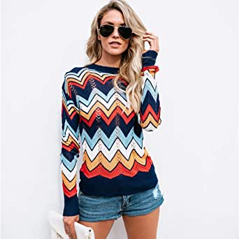 Rainbow Sweaters Women's Long Sleeve Knitted Loose Shoulder Jumpers Casual Cozy Pullover Sweater Striped For Women