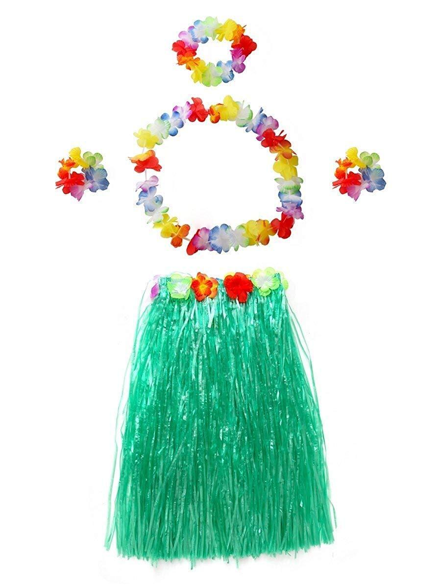 NFACE Elástico Hawaiano Hula Dancer Falda Verde 40 cm 5pcs / Set ...