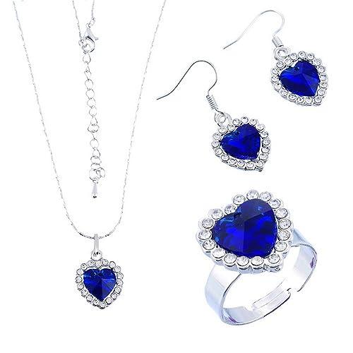 d34e5acbc Encanto océano amor corazón azul eléctrico colgantes collar moda juego  anillo y pendientes de cristal para las mujeres niñas: Amazon.es: Joyería