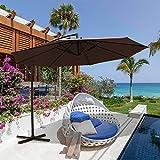 Cheap PATIOROMA 10′ Offset Outdoor Umbrella Aluminum Patio Market Cantilever Hanging Umbrella Crank Cross Base, 8 Steel Ribs, Coffee