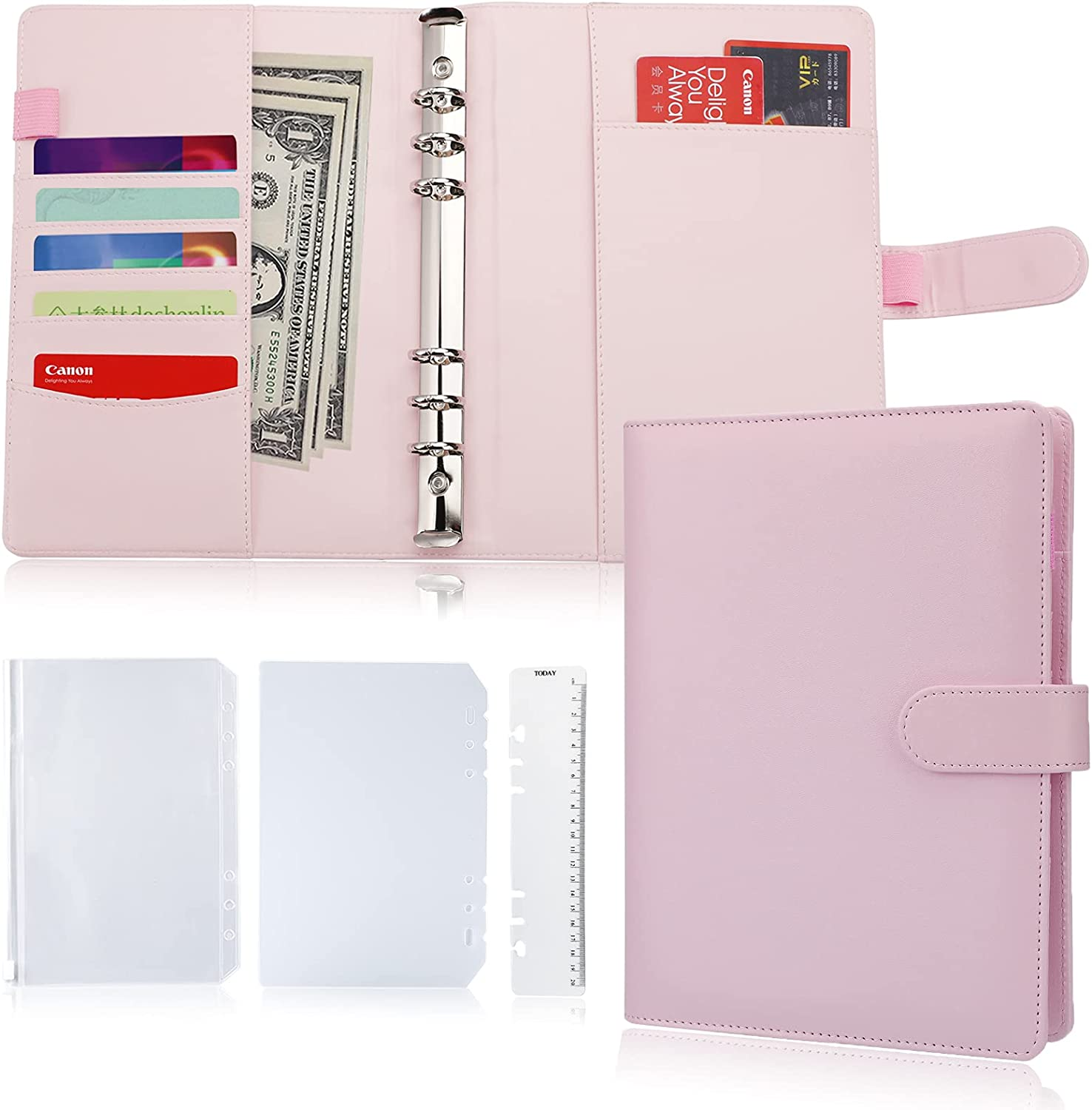 Personal Filofax Planner Dividers x 6 Peach Mint Pink Floral Bow Paper Clip