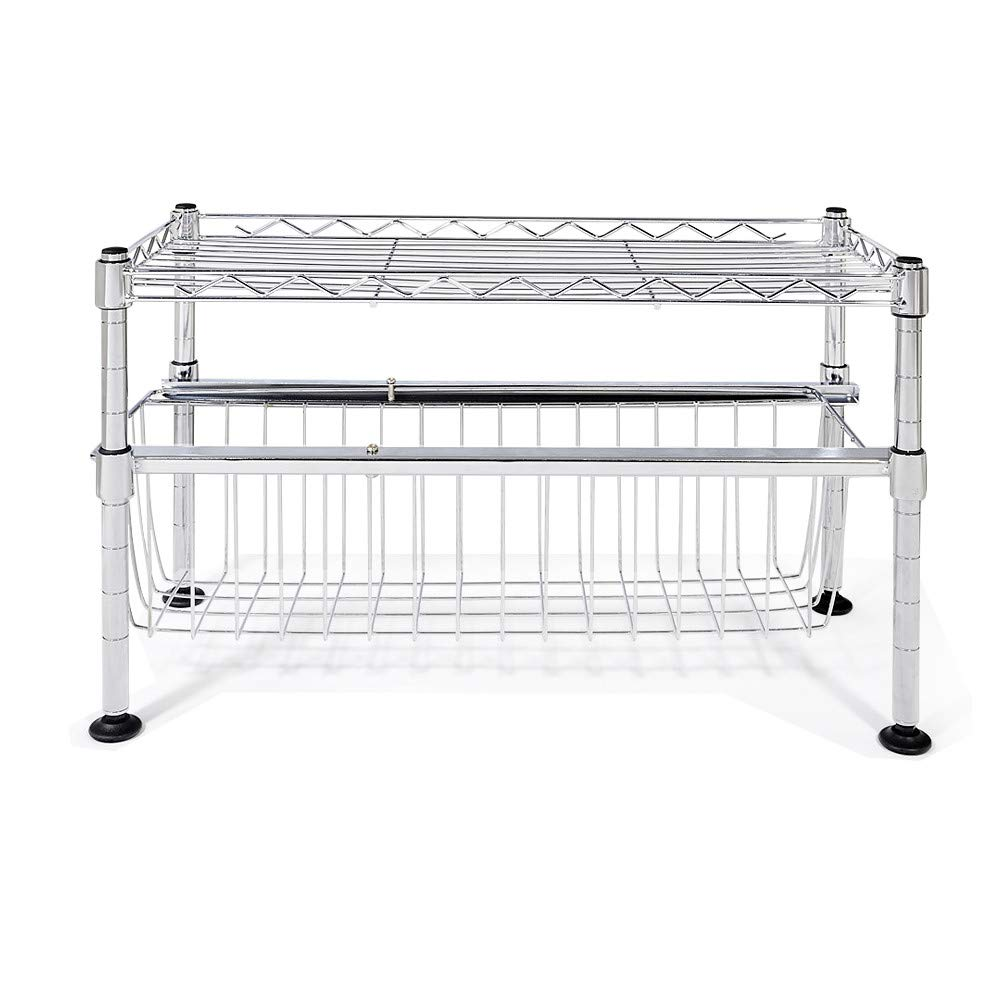 Sonmer Chrome Stainless Steel Collection Stacking Shelf,with Sliding Basket
