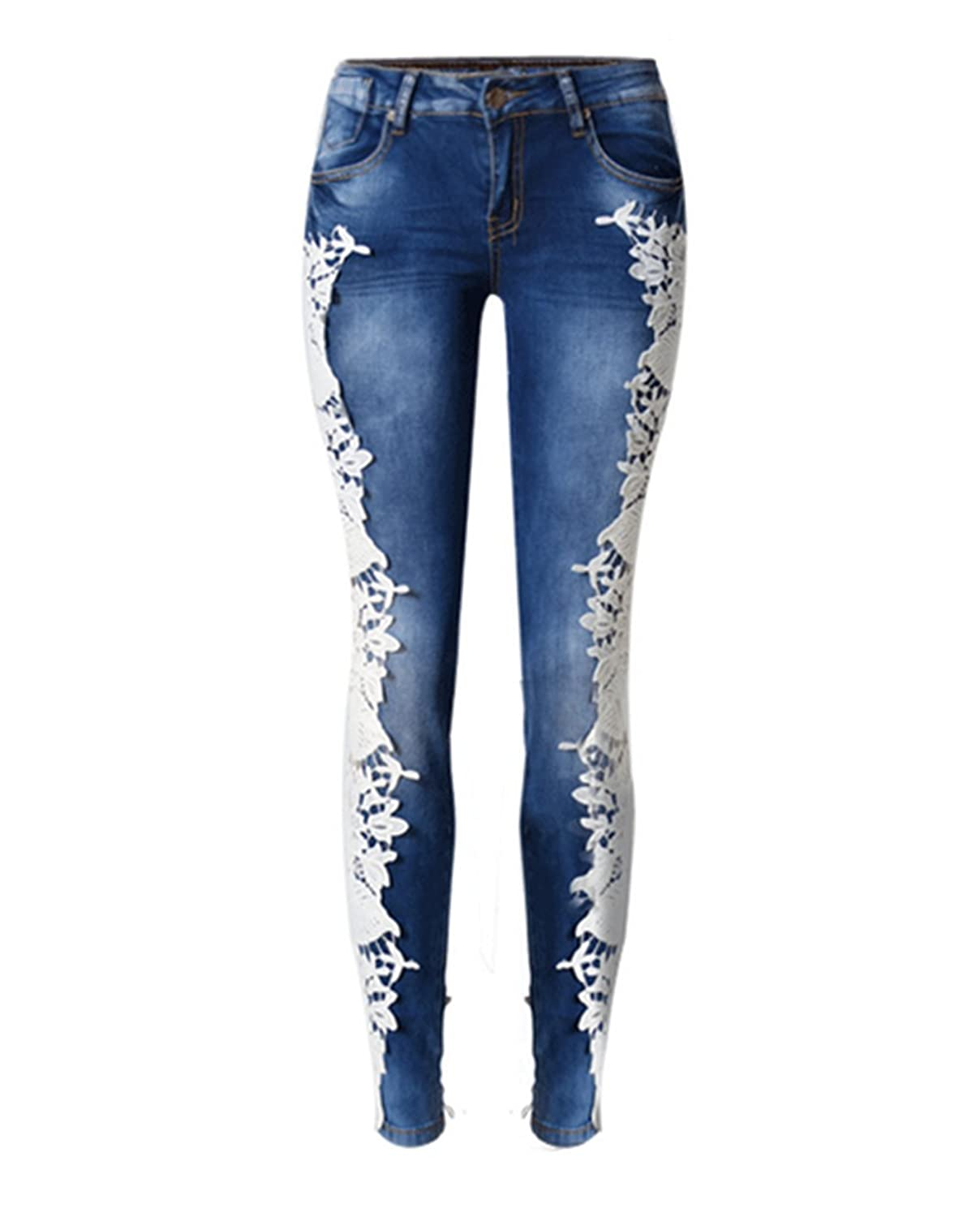 Sexy Women Girl Destroyed Grocet Lace Jeans Ripped Washed Cuff Denim Trousers