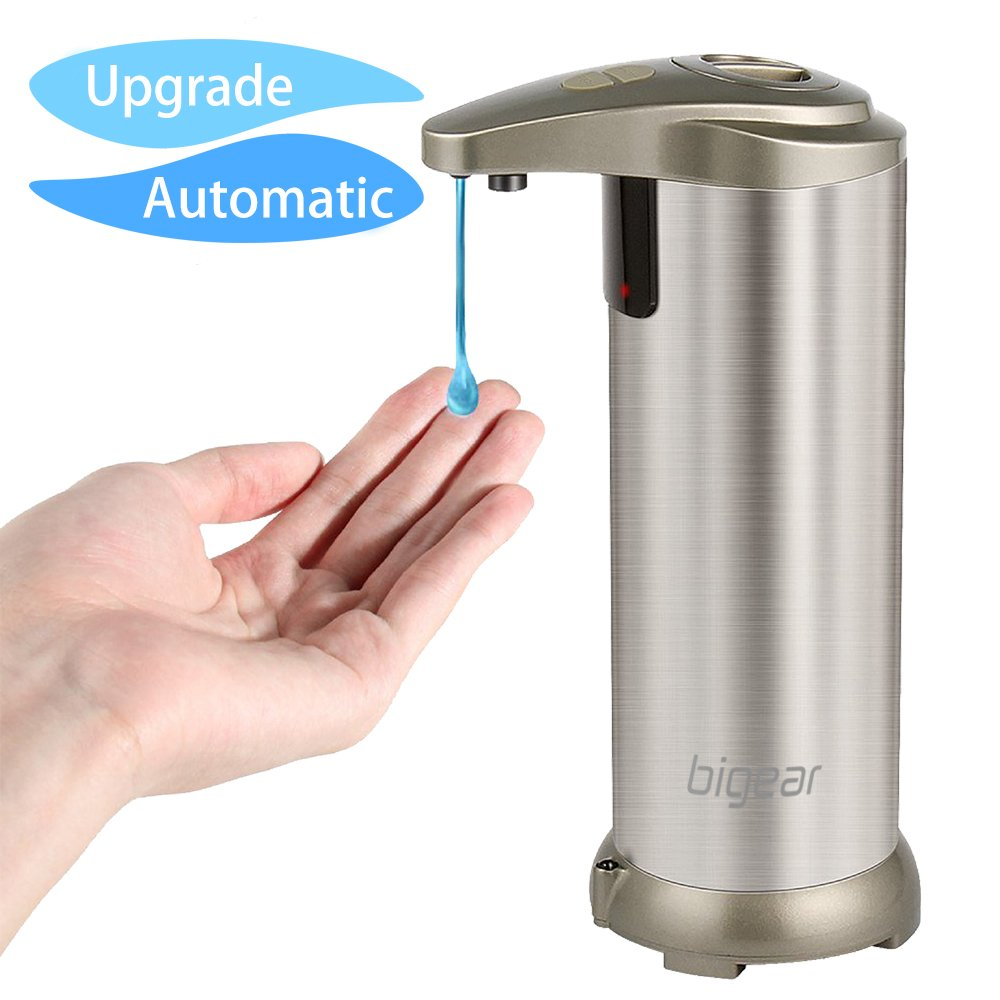 Soap Dispenser, BigearTouchless Automatic Soap Dispenser, Upgraded Version Hands-Free IR Infrared Motion Sensor Liquid Dish Autosoap Dispenser, Fingerprint Resistant Stainless Steel Water Resistant with Waterproof Base for Kitchen Bathroom