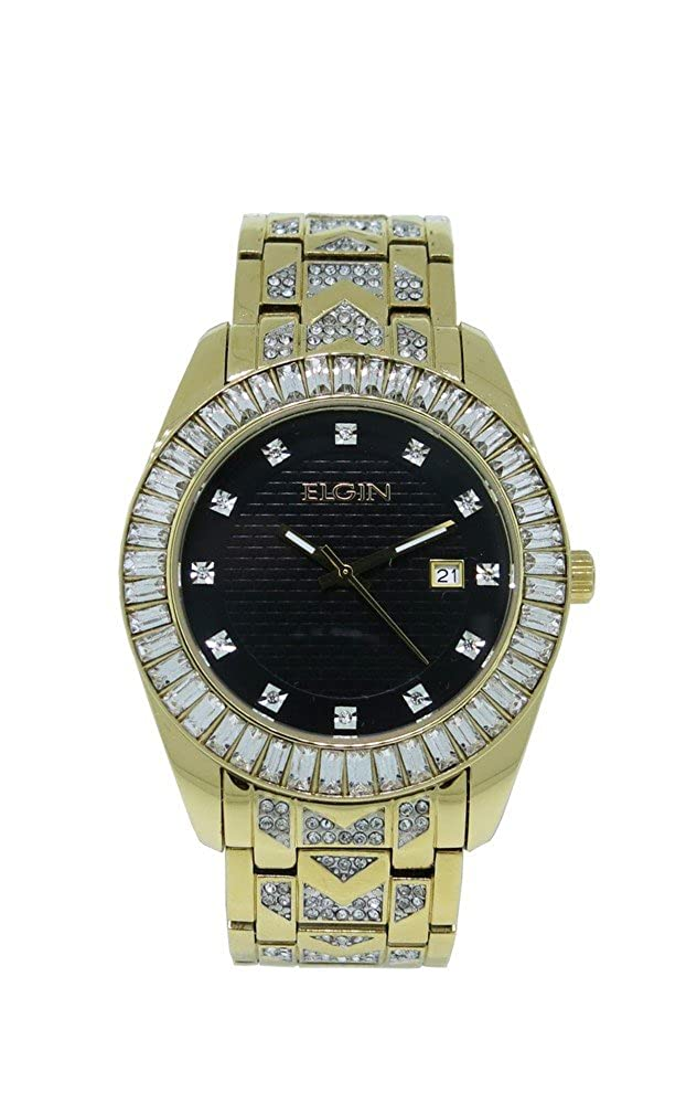 Amazon.com: Elgin FG1509 Mens Black Round Analog Date White Crystal Gold Tone Watch: Watches