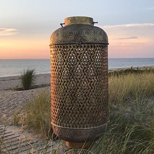 Whole House Worlds WHW Whole House Worlds Moroccan Temple Lantern, Tall Cylinder Construction, Dome Top and Loop Handle, Criss-Cross Open Metal Work, Over 3 Ft Tall price tips cheap