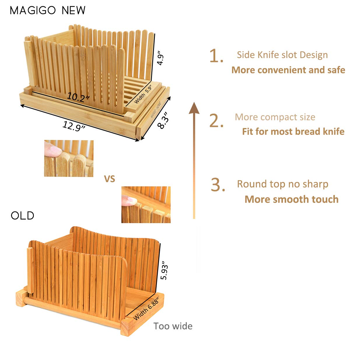 MAGIGO Nature Bamboo Foldable Bread Slicer with Crumb Catcher Tray, Bread Slicing Guide and Knife Rest for Homemade Bread & Loaf Cakes, Thickness Adjustable, Contains 20 Bread Bags & 20 Twist Ties by MAGIGO (Image #5)