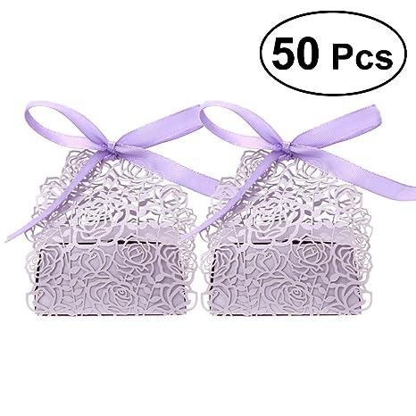 UEETEK 50 Stück Geschenkboxen,Rose Muster Hochzeit Gunsten Box ...