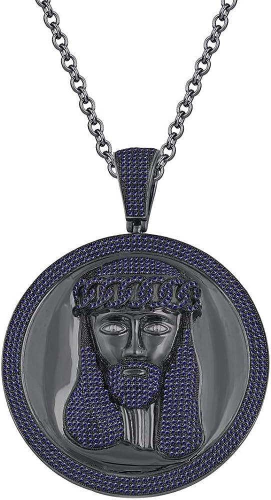 Silvercartvila Jesus Disc Unisex Pendant Necklace 1.15 Ct Round Cut D//VVS1 Diamond In 14K Black Gold Plated