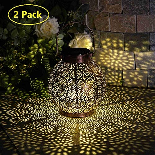 Solar Lanterns Outdoor Hanging Lights Decorative, Solar Outdoor Decorations for Patio Garden Yard Porch and Tabletop. 5.5 inch, 2 Pack