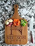 Personalized Engraved Cutting Board with Handle Housewarming and Wedding Gift for Kitchen (10 x 18 Bamboo Paddle Shaped, Nielson Design)