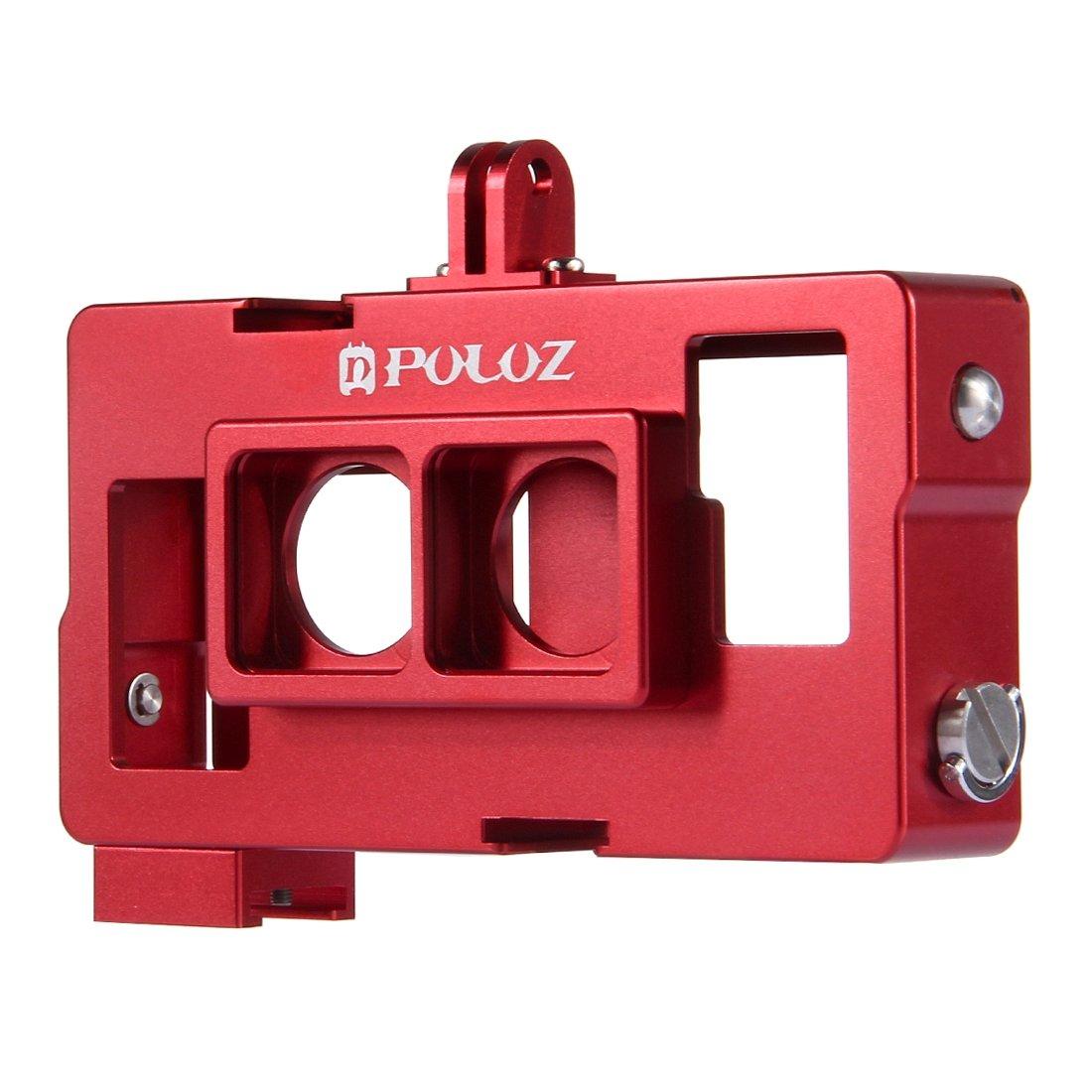 メタルケース PULUZ 2 in 1ハウジングシェルGoPro HERO4 / 3 (赤)のレンズフレーム付きCNCアルミニウム合金保護ケージ (Color : Red)   B07RP673R3