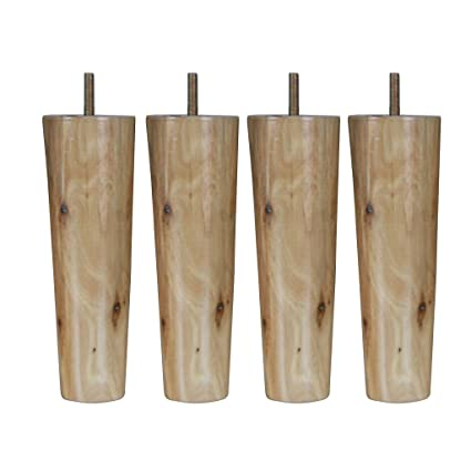 4pcs 6inch Height Cone Shape Eucalyptus Solid Wood Furniture Sofa Legs Natural Color Furniture Furniture Parts