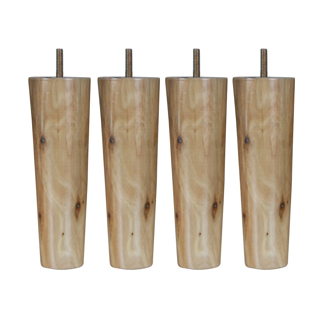 4pcs 4'' 5'' 6'' 8'' Height Cone Shape Eucalyptus Solid Wood Furniture Sofa Legs - Natural, 8inch H